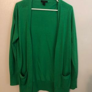 Jcrew green long button-up cardigan